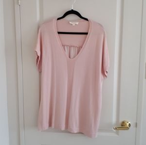 Two by Vince Camuto Knit and Silky Top